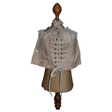Old Doll Corset Fancy Lace Up Fancy Trim Undergarment