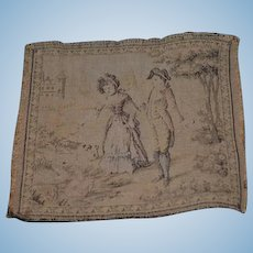 Old Doll French Tapestry For Dollhouse Victorian Lady and Man Miniature
