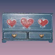 Vintage Miniature Doll Artist Trunk Dollhouse Tole Painted Wood Hearts W/ Drawers