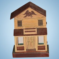 Antique Doll Miniature Dollhouse Wood Painted Petite Size Porch Balcony SWEET!