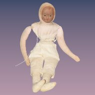 Old Unusual Doll Cloth Doll Rag Doll Oil Cloth Mask Face Old London Rag Doll