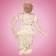 Old Unusual Doll Cloth Doll Rag Doll Oil Cloth Mask Face Old London Rag Doll