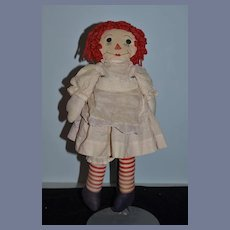 Old Doll Raggedy Ann Cloth Button Eyes and Sewn Features