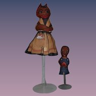 Old Black Cloth Doll Dolls Rag Doll Printed Set Adorable Character Mother and Son