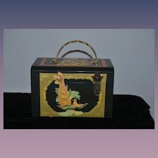 Vintage Vicki Jean Black Lacquer Wood Purse Oriental