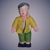 Old Doll Papier Mache Head Whistler Doll Cloth Body Original Clothes