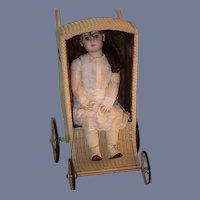 Antique Doll Child's Wicker Pram Carriage W/ Side Windows Rare Style