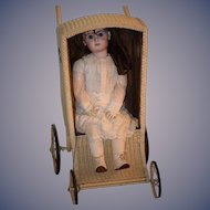 Antique Doll Child's Wicker Pram Carriage W/ Side Windows Rare Style