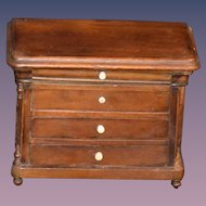 Antique Doll Miniature Walnut Chest Gorgeous Fashion Doll Size