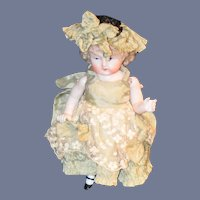 Antique Doll Miniature All Bisque Solid Dome Gorgeous Face Antique Clothing W/ Bonnet Boots Chunky