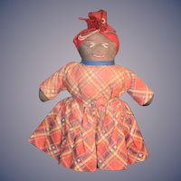 Old Doll Black Cloth Doll Rag Doll Sewn Features Sweet