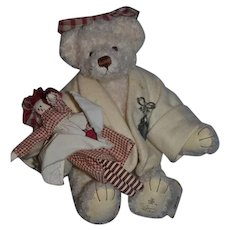 Teddy Bear Lenore Dement Jointed W/ Rag Doll Sweet!