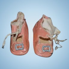 Old Oil Cloth Pink Buckle Doll Shoes Sweet!!
