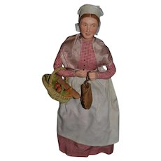 Old Doll Terra Cotta Character Lady W/ Bread Basket and Leather Purse