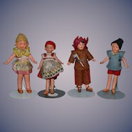 Antique Doll Miniature Lot of All Bisque Dolls Dollhouse FOUR DOLLS