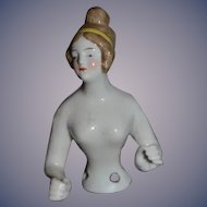 Old Half Doll China Head Arms Away
