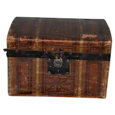 Antique Doll Wood and Litho Trunk W/ Tray & Key