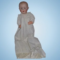 "Antique Doll J.D.K. Kestner Big Baby Wonderful Bisque Character Baby 21"" W/ Gorgeous Christening Gown"