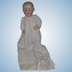 """Antique Doll J.D.K. Kestner Big Baby Wonderful Bisque Character Baby 21"""" W/ Gorgeous Christening Gown"""