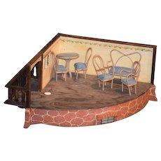 Wonderful Doll Room Box Corner Room W/ Patio Cottage Windows