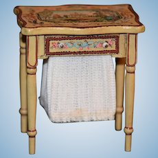 WONDERFUL Doll Miniature Doll Artist Hand Painted Sewing Table Signed B E A Dollhouse