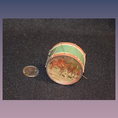 Old Miniature Doll Size Drum Tape Measure Sewing Two Sided Metal Unique