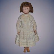 Antique Doll Schoenhut Wood Carved Jointed Character Doll Dressed