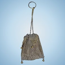 Old Doll Mesh Purse Chatelaine W/ Decorative Beads Fashion Doll
