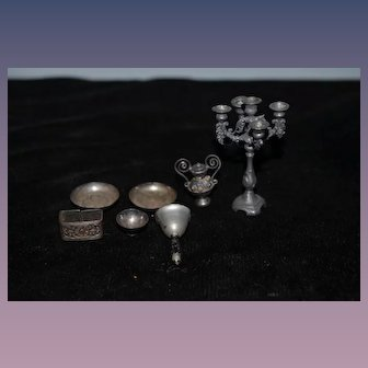 Old Doll Miniature Dollhouse Lot Candelabra Napkin Ring Dinner Bell Plates Cup Vase