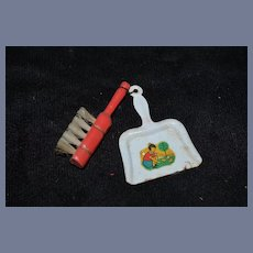 Old Doll Miniature Dust Pan & Wood Handle Brush Dollhouse Metal