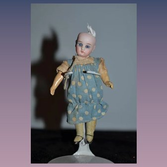 Antique Doll Bisque Miniature Dollhouse Dressed in Factory Clothing