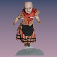 Antique Doll French Bisque Miniature Dollhouse Jointed Original Clothing