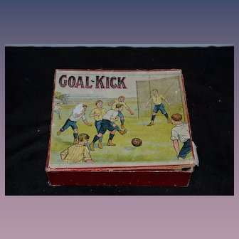 Old Boxed Game Doll GOAL-KICK Tin Figures Litho Wood Original Box and Directions