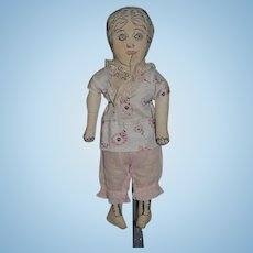 Old Doll Cloth Doll Rag Doll Unusual Sewn Features Wonderful Old Clothes