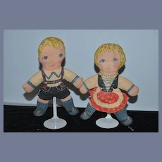 Old Doll Set Printed Set Sweet Boy and Girl