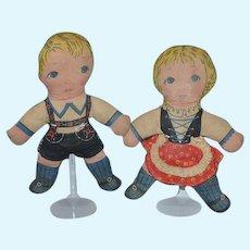 Old Doll Set Printed Set Sweet Boy and Girl