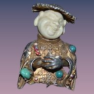 Old HAR Jewelry Brooch Oriental Jeweled Buddha Faux Beads Faux Stones