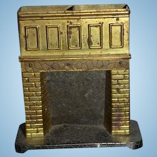 Antique Old Doll Metal Miniature Fireplace Fire Place Fancy Dollhouse
