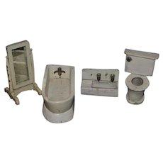 Old Doll Wood Dollhouse Furniture Bathroom Set Toilet Bath Tub Mirror Sink