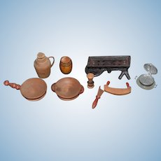 Old Doll Miniature Dollhouse Lot Wood Kitchen & Metal  German Waffle Maker Wood Bowls & More Cast Iron Scale