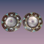 Old Enamel & Shell Fancy Buttons Matching Pair