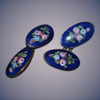 Old Cobalt Blue W/ Flowers Enamel Cufflinks