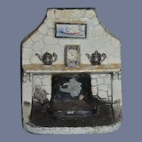 Old Doll Metal Painted Miniature Fireplace Fire Place W/ Accessories Molded Dollhouse