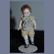Antique Doll Miniature All Bisque Glass Eyes Sweet Face Jointed Dollhouse