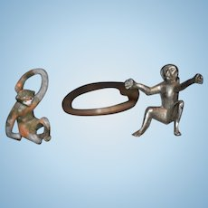 Old Miniature Monkey Set Doll Toy Dollhouse Sweet Figurine Metal