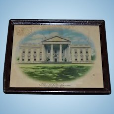Old Doll Miniature Glass Framed Print of The White House Dollhouse