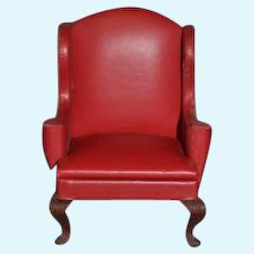 Vintage Doll Chair WingBack  Wood Leather Faux Leather Dollhouse Miniature Wing Back