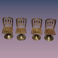 Vintage Doll Miniature Brass Chairs Dollhouse