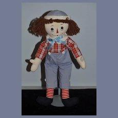 Vintage Raggedy Andy Cloth Doll Rag Doll W/ Tag