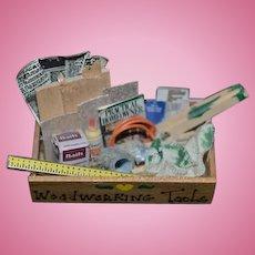 Vintage Doll Miniature Artist Made Tool Craft Box Filled w/ Miniatures Dollhouse